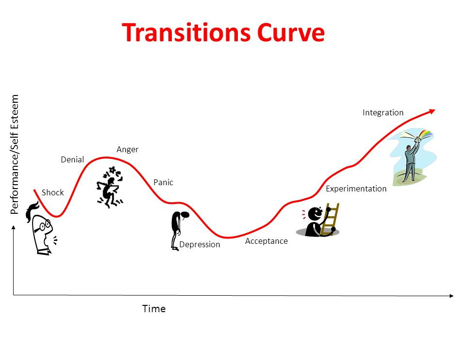 Performance/Self Esteem Time Transitions Curve Shock Denial Anger Panic Depression Acceptance Experimentation Integration