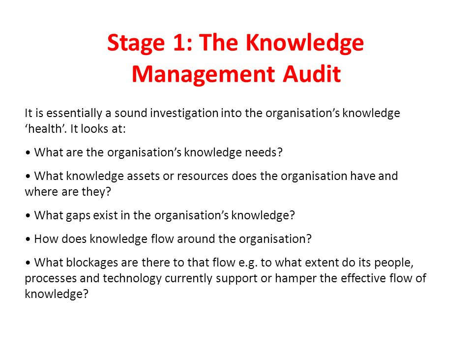 Stage 1: The Knowledge Management Audit It is essentially a sound investigation into the organisation's knowledge 'health'.