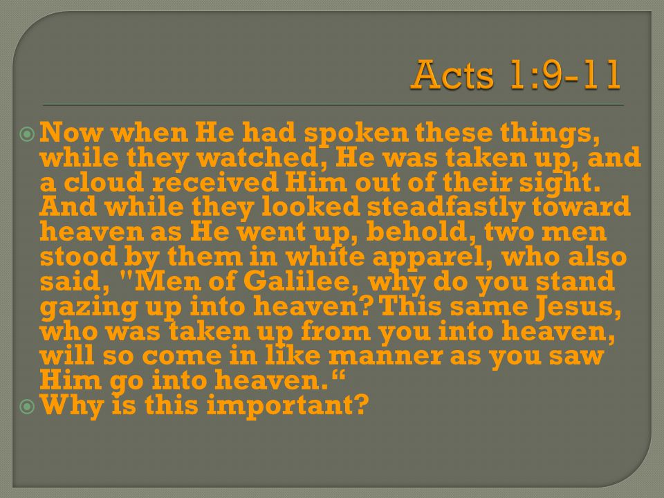  Now when He had spoken these things, while they watched, He was taken up, and a cloud received Him out of their sight. And while they looked steadfa