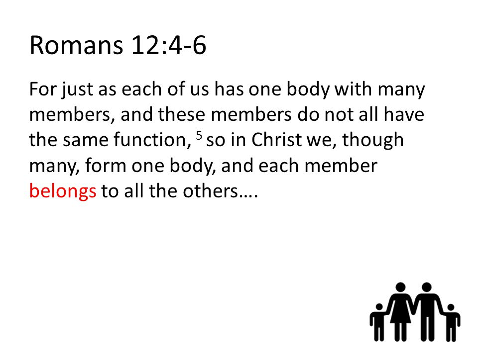 Romans 12:4-6 For just as each of us has one body with many members, and these members do not all have the same function, 5 so in Christ we, though many, form one body, and each member belongs to all the others….