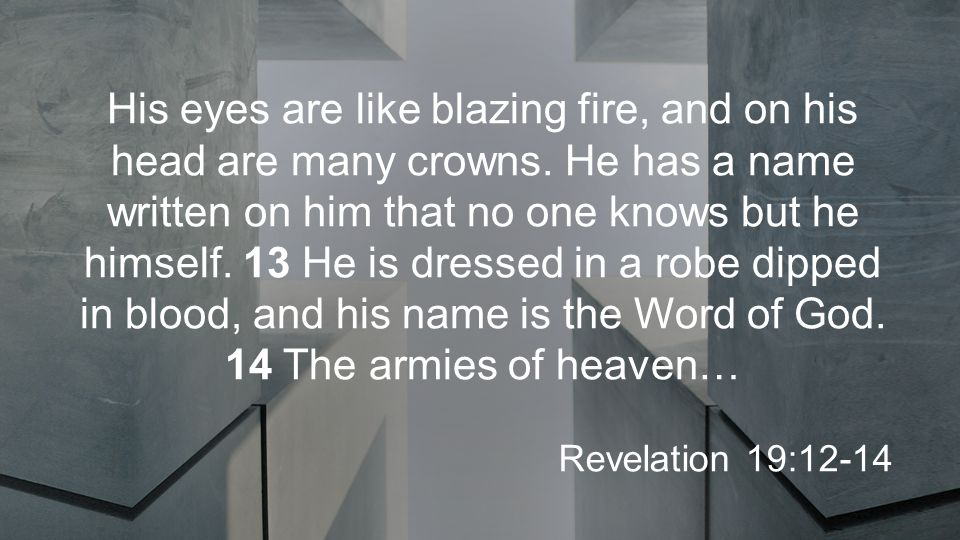 His eyes are like blazing fire, and on his head are many crowns.