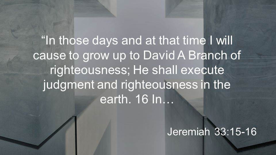 In those days and at that time I will cause to grow up to David A Branch of righteousness; He shall execute judgment and righteousness in the earth.