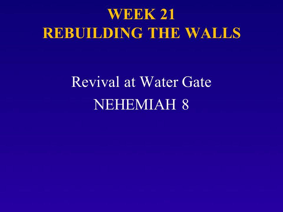 WEEK 21 REBUILDING THE WALLS Revival at Water Gate NEHEMIAH 8