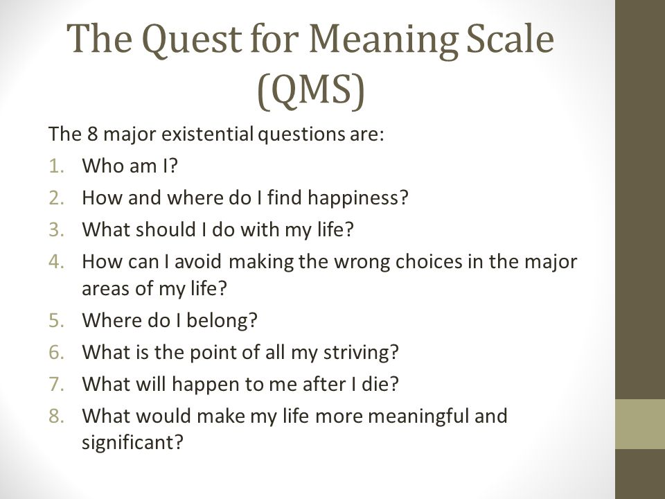 The Quest for Meaning Scale (QMS) The 8 major existential questions are: 1.Who am I.
