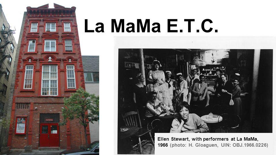 La MaMa E.T.C. Ellen Stewart, with performers at La MaMa, 1966 (photo: H.