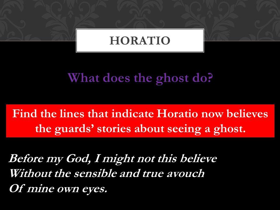 HORATIO Find the lines that indicate Horatio now believes the guards' stories about seeing a ghost. Before my God, I might not this believe Without th