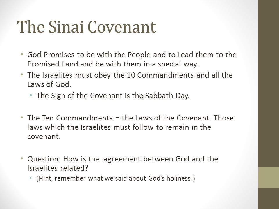 A Holy People Read Exodus 19:6 Because of the Covenant, the people of Israel are supposed to be a Holy People.