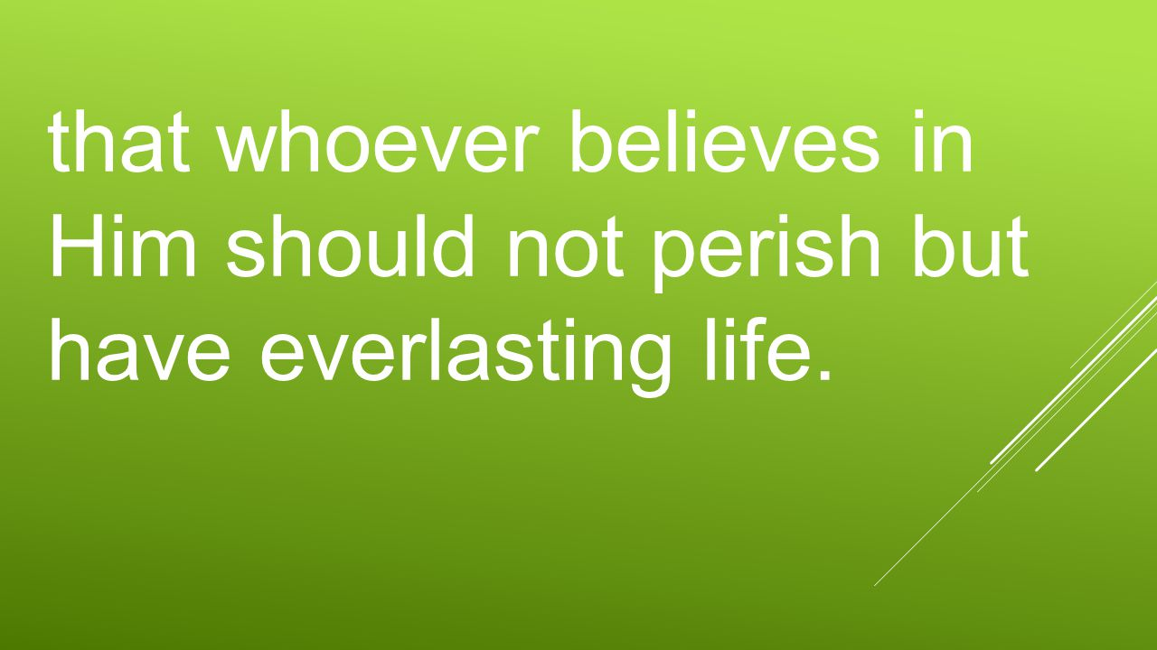 that whoever believes in Him should not perish but have everlasting life.