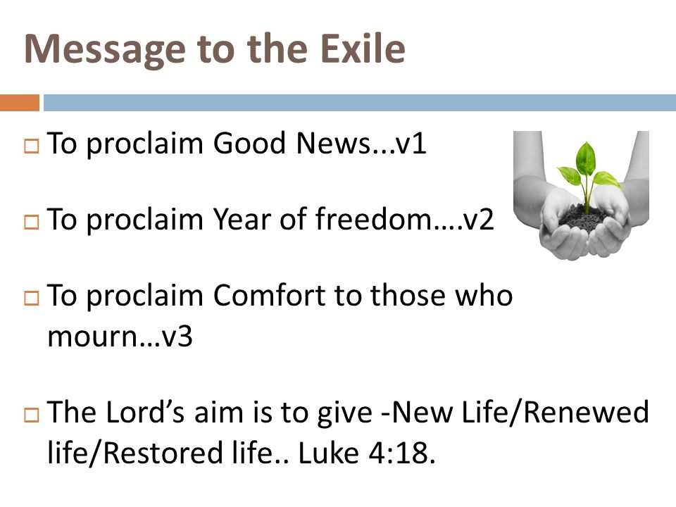 Message to the Exile  To proclaim Good News...v1  To proclaim Year of freedom….v2  To proclaim Comfort to those who mourn…v3  The Lord's aim is to