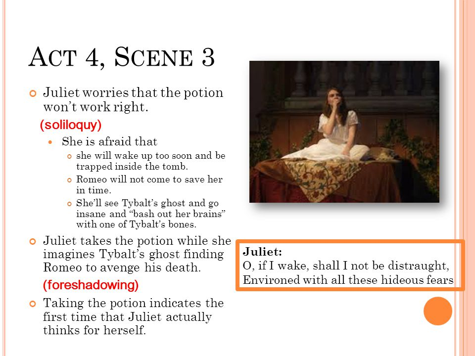 A CT 4, S CENE 3 Juliet worries that the potion won't work right.