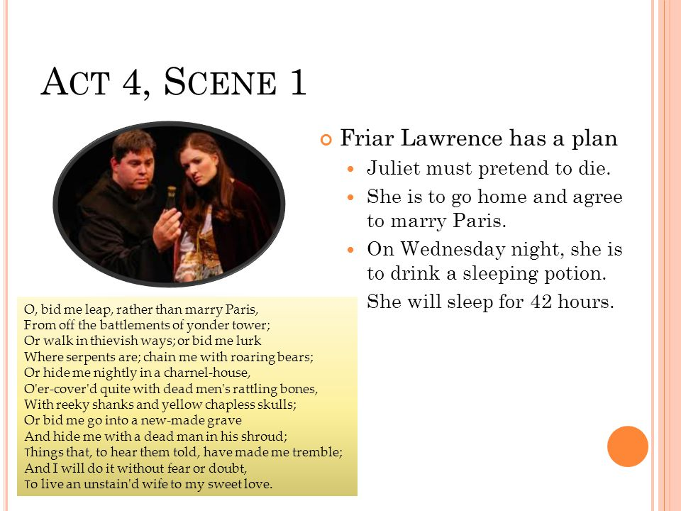 A CT 4, S CENE 1 Friar Lawrence has a plan Juliet must pretend to die.
