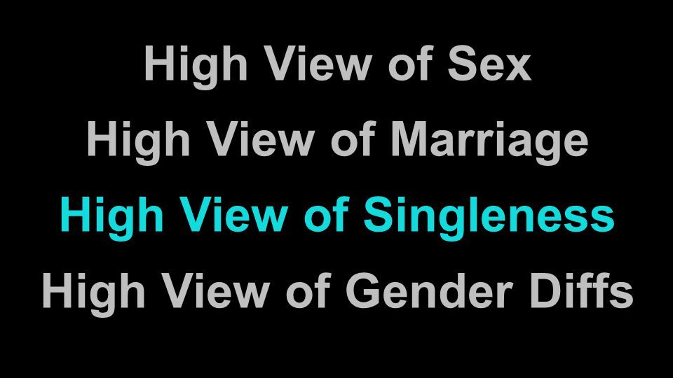 High View of Sex High View of Marriage High View of Singleness High View of Gender Diffs