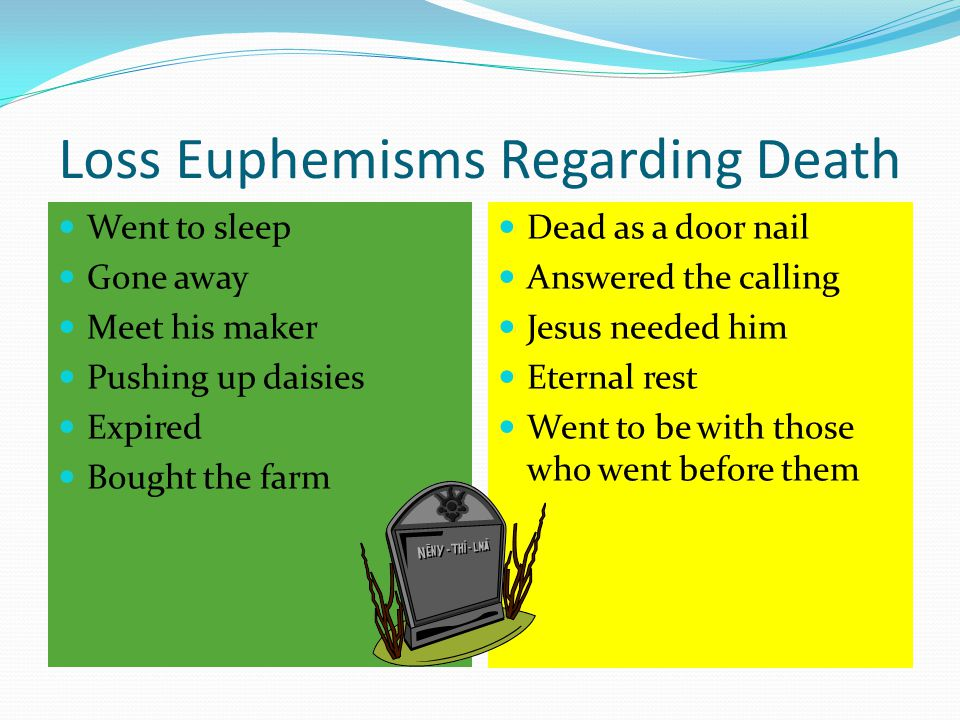 Loss Euphemisms Regarding Death Went to sleep Gone away Meet his maker Pushing up daisies Expired Bought the farm Dead as a door nail Answered the calling Jesus needed him Eternal rest Went to be with those who went before them