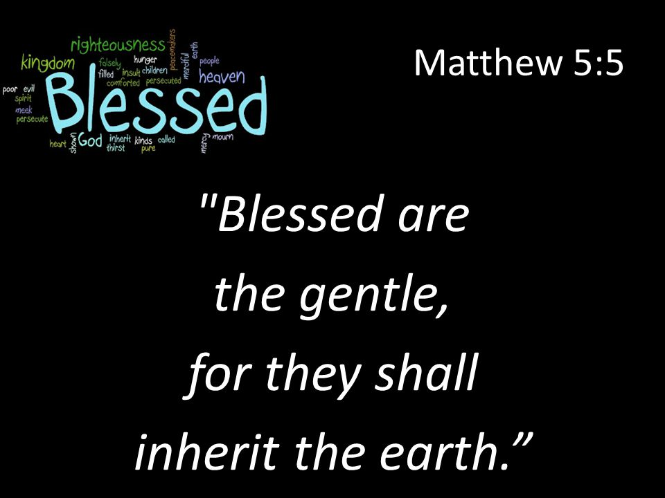 Matthew 5:5 Blessed are the gentle, for they shall inherit the earth.