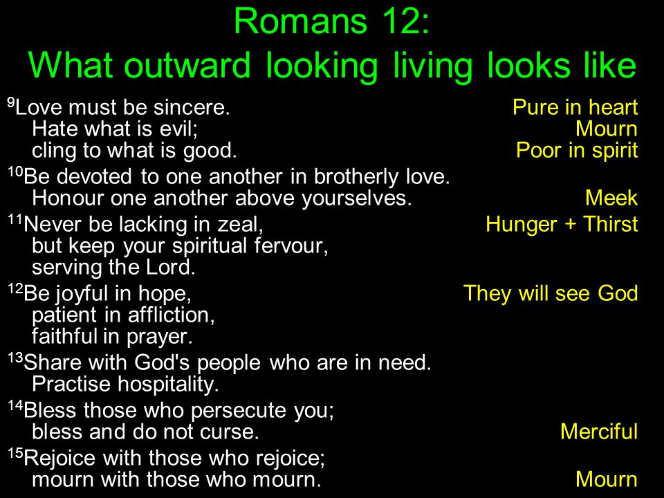 Romans 12: What outward looking living looks like 9 Love must be sincere.Pure in heart Hate what is evil;Mourn cling to what is good.Poor in spirit 10