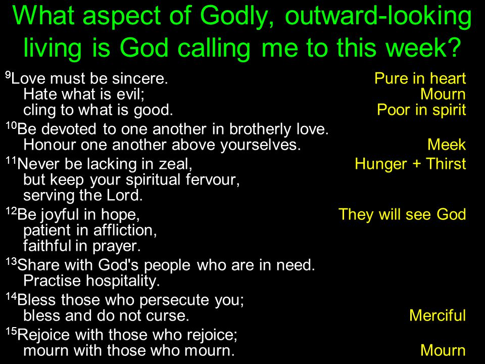 What aspect of Godly, outward-looking living is God calling me to this week.