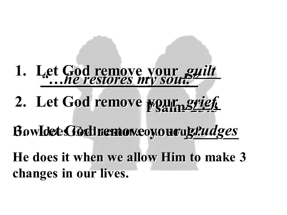 1.Let God remove your _____ guilt 2. Let God remove your _____ grief 3.