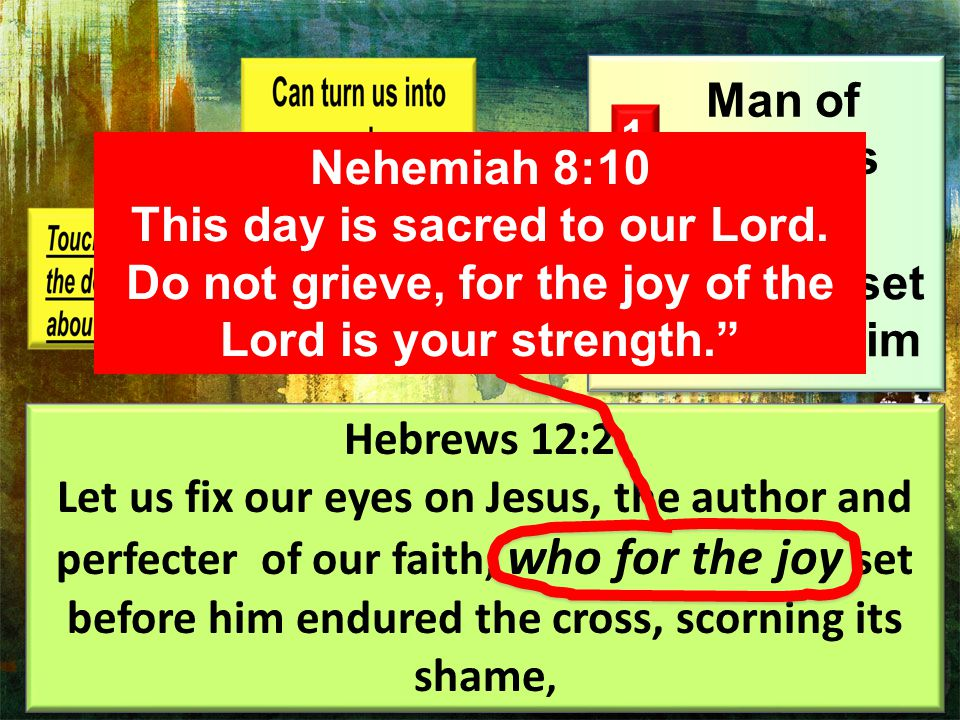 Example of Jesus 1 2 Man of Sorrows The joy set before him Hebrews 12:2 Let us fix our eyes on Jesus, the author and perfecter of our faith, who for the joy set before him endured the cross, scorning its shame, Hebrews 12:2 Let us fix our eyes on Jesus, the author and perfecter of our faith, who for the joy set before him endured the cross, scorning its shame, Nehemiah 8:10 This day is sacred to our Lord.