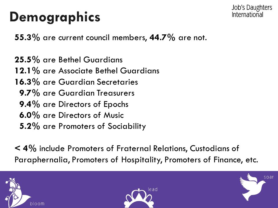 Demographics 55.3% are current council members, 44.7% are not.