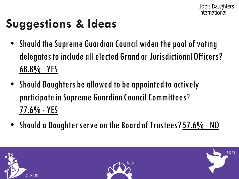 Suggestions & Ideas Should the Supreme Guardian Council widen the pool of voting delegates to include all elected Grand or Jurisdictional Officers.