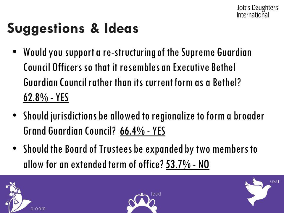 Suggestions & Ideas Would you support a re-structuring of the Supreme Guardian Council Officers so that it resembles an Executive Bethel Guardian Council rather than its current form as a Bethel.