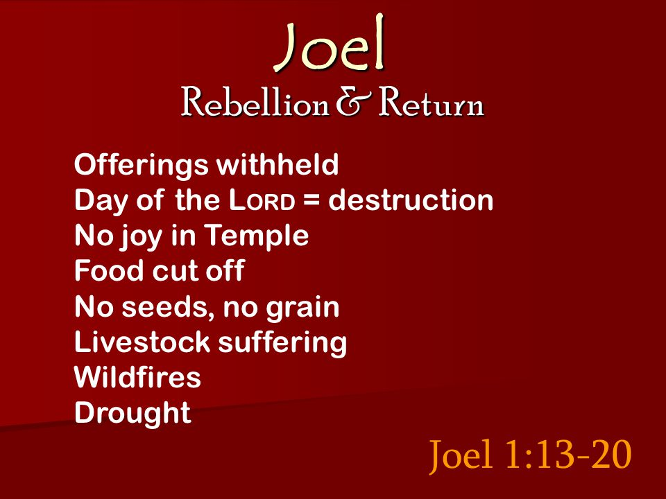 Joel Rebellion & Return Joel 1:13-20 Offerings withheld Day of the L ORD = destruction No joy in Temple Food cut off No seeds, no grain Livestock suffering Wildfires Drought