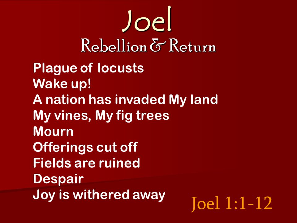 Joel Rebellion & Return Joel 3: 12-13 Valley of judgment Prepare for the harvest The Son of Man harvests the earth Revelation 14: 14 - 15: 1