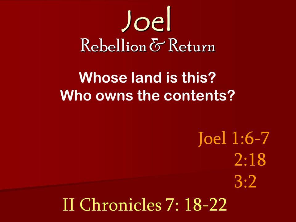 Joel Rebellion & Return Joel 3: 14-16 Multitudes gathered for judgment Cosmic disturbances Day of the L ORD roars