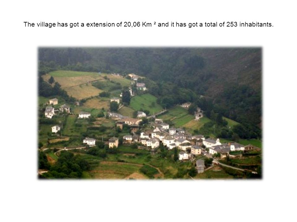 The village has got a extension of 20,06 Km ² and it has got a total of 253 inhabitants.