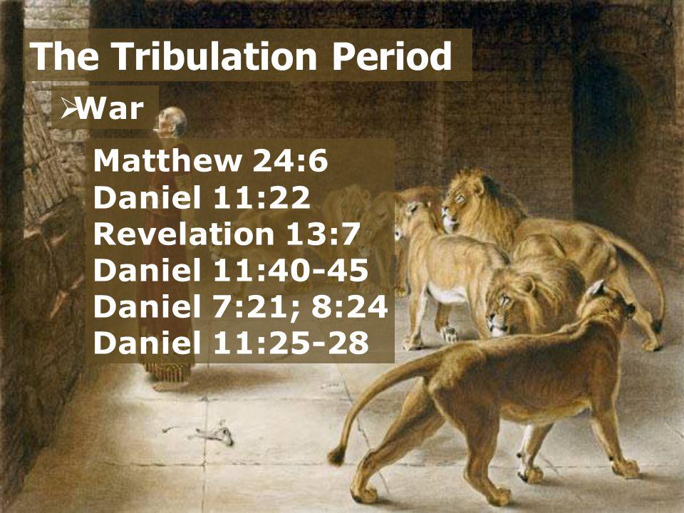  War  Sin The Tribulation Period Matthew 24:12 2 Timothy 3:1-4 Matthew 24:5, 11, 24 2 Thessalonians 2:7 Matthew 24:9 John 16:2