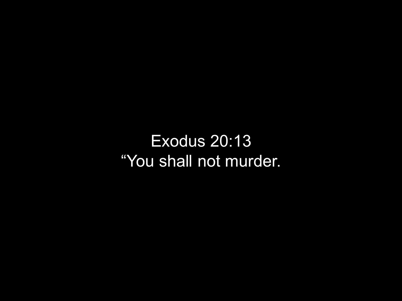 Exodus 20:13 You shall not murder.