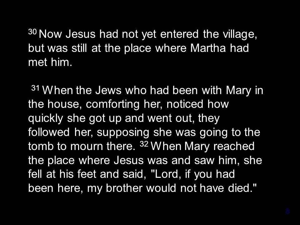 8 30 Now Jesus had not yet entered the village, but was still at the place where Martha had met him.