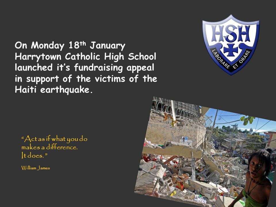 The appeal was initiated by a member of staff who, having visited Haiti several years ago, perhaps understood more about the impact this disaster would have on a country that is already one of the poorest in the Western world.