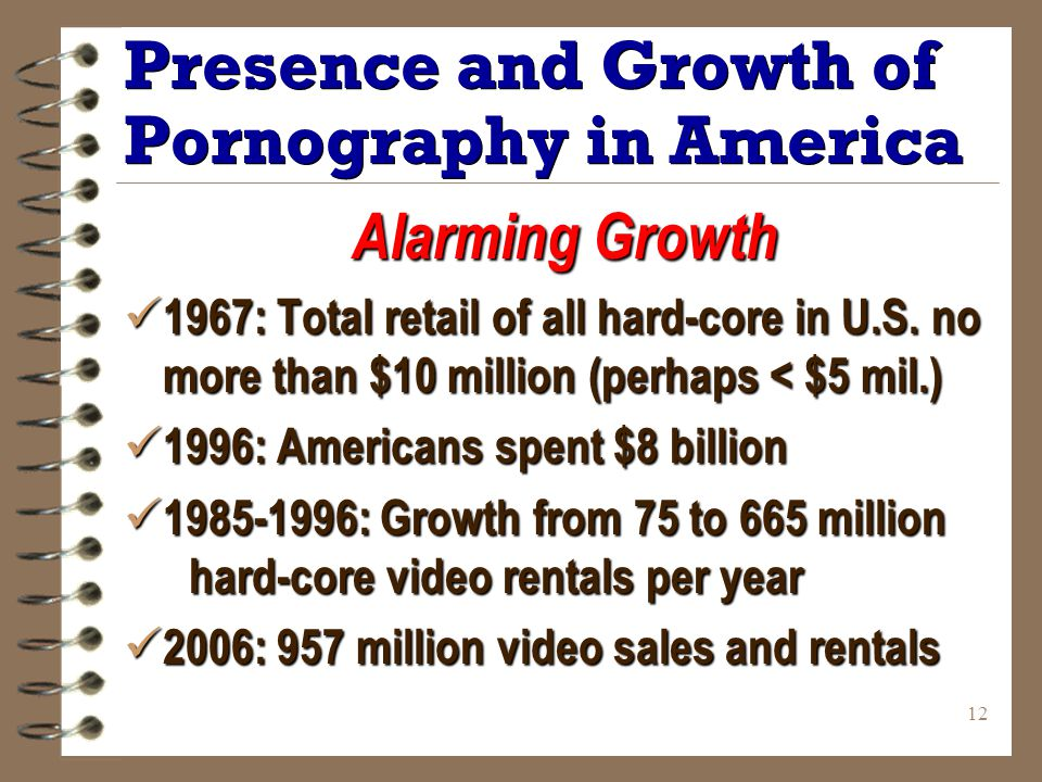 12 Presence and Growth of Pornography in America Alarming Growth 1967: Total retail of all hard-core in U.S.