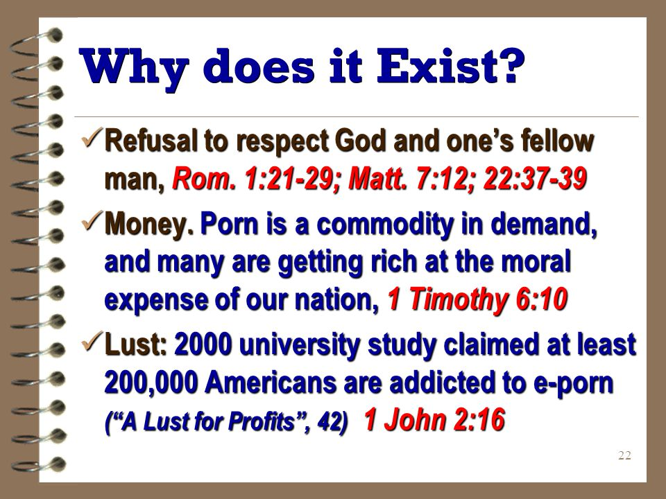 22 Why does it Exist. Refusal to respect God and one's fellow man, Rom.