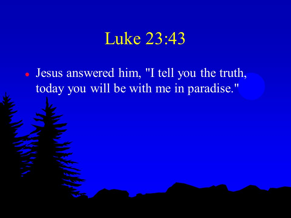 Luke 23:43 l Jesus answered him, I tell you the truth, today you will be with me in paradise.