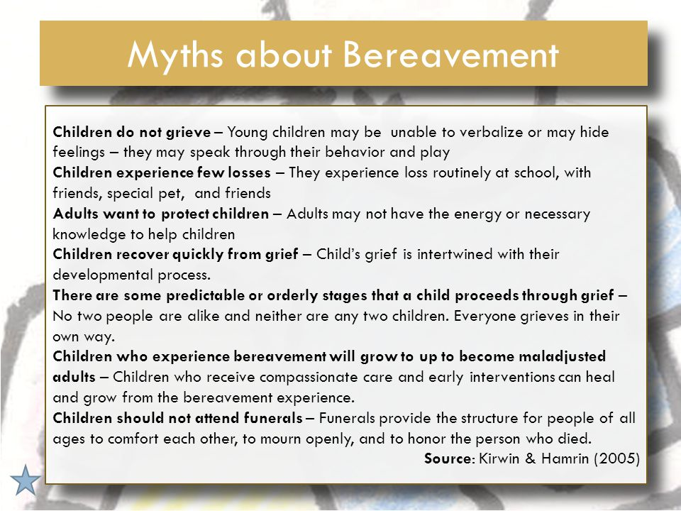 Helping children cope with bereavement at the different developmental stages InfancyToddlers6-9yrs10-12yrsTeens Try to get routine schedule Be honest.