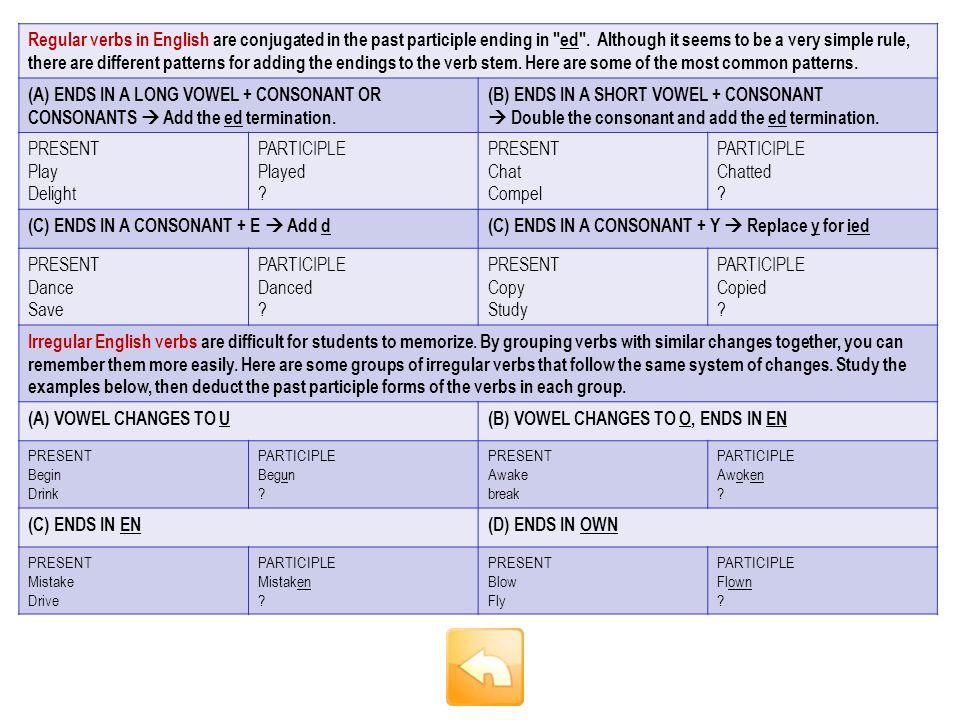 Simple form: spot Past participle: .Click to answer ubicar / manchar This is a regular verb.