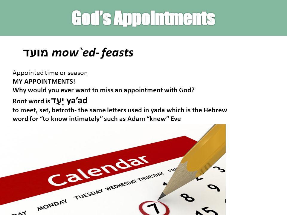 מועד mow`ed- feasts Appointed time or season MY APPOINTMENTS.