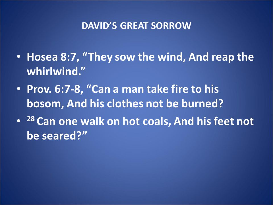 DAVID'S GREAT SORROW Hosea 8:7, They sow the wind, And reap the whirlwind. Prov.