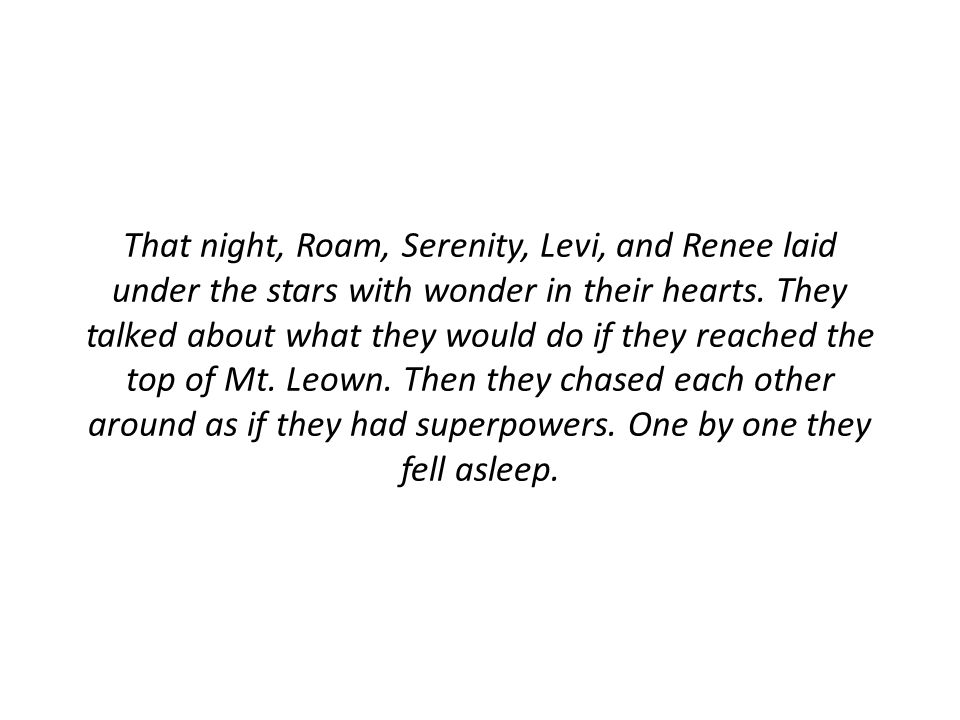 That night, Roam, Serenity, Levi, and Renee laid under the stars with wonder in their hearts.