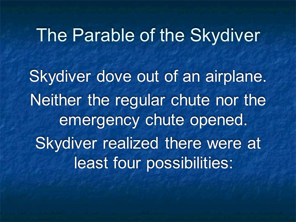 The Parable of the Skydiver Skydiver dove out of an airplane.