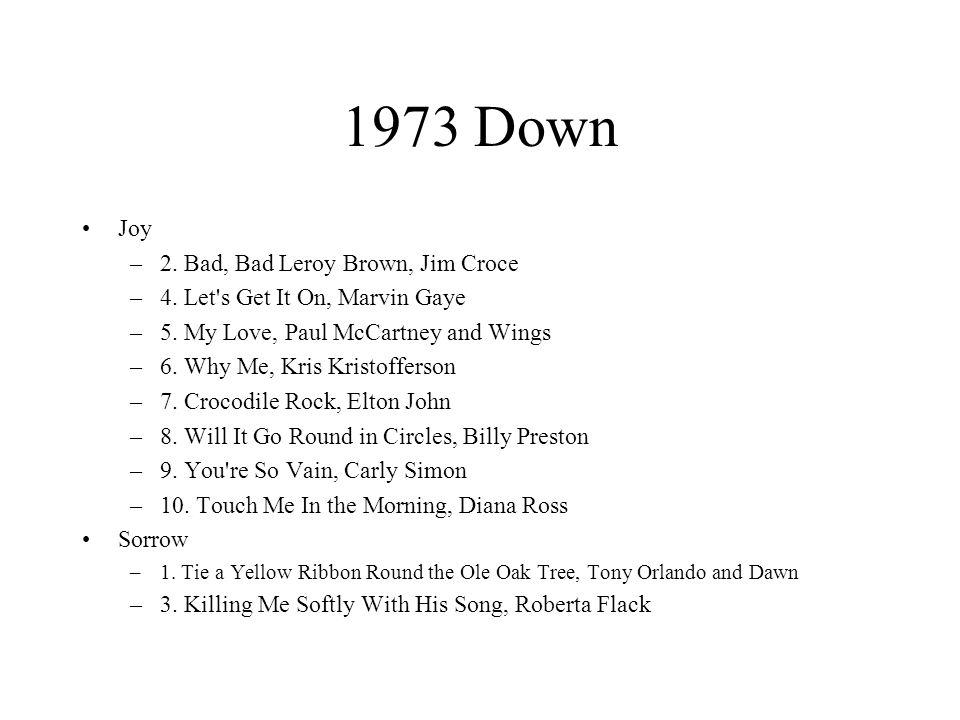 1973 Down Joy –2. Bad, Bad Leroy Brown, Jim Croce –4.