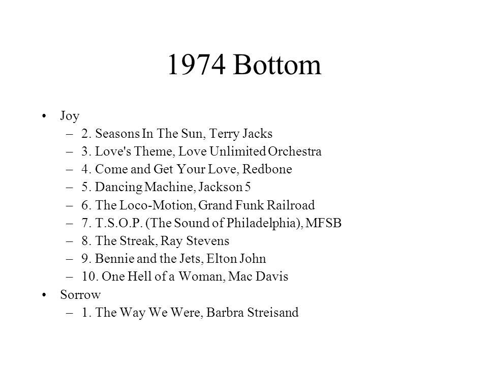 1974 Bottom Joy –2. Seasons In The Sun, Terry Jacks –3.