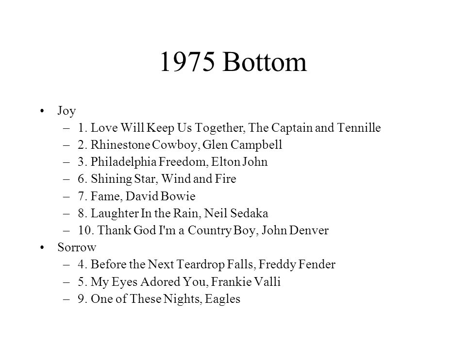 1975 Bottom Joy –1. Love Will Keep Us Together, The Captain and Tennille –2.
