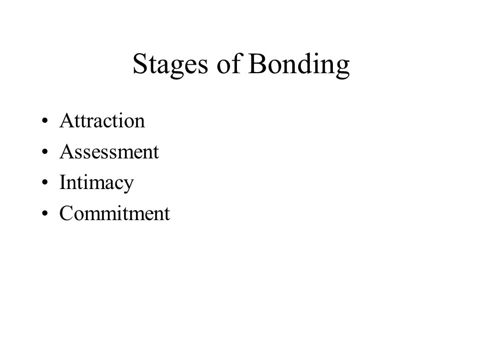 Stages of Bonding Attraction Assessment Intimacy Commitment