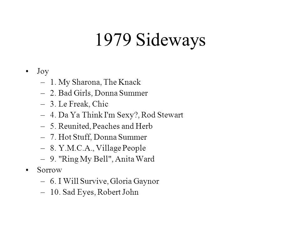 1979 Sideways Joy –1. My Sharona, The Knack –2. Bad Girls, Donna Summer –3.