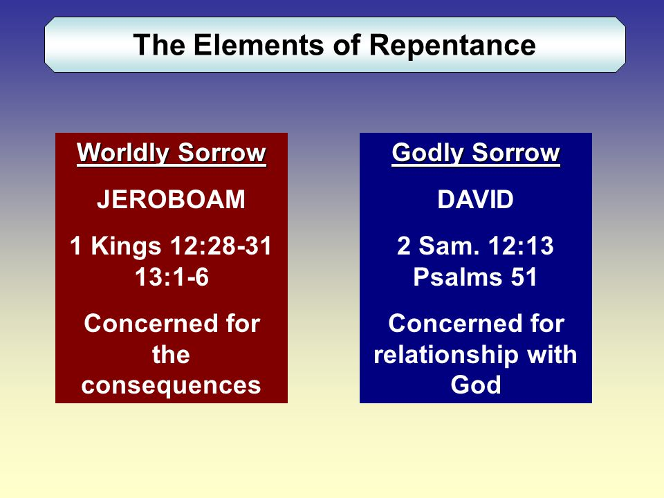 The Elements of Repentance Worldly Sorrow JEROBOAM 1 Kings 12:28-31 13:1-6 Concerned for the consequences Godly Sorrow DAVID 2 Sam.