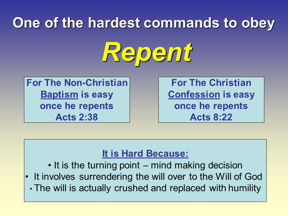 What Repentance Is Not.Confession of sin- (possible without repent) Regret and sorrow - (Matt.