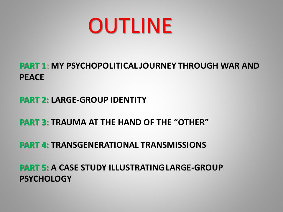 PART 1 : MY PSYCHOPOLITICAL JOURNEY THROUGH WAR AND PEACE